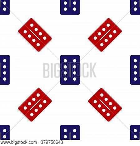Blue And Red Pills In Blister Pack Icon Isolated Seamless Pattern On White Background. Medical Drug