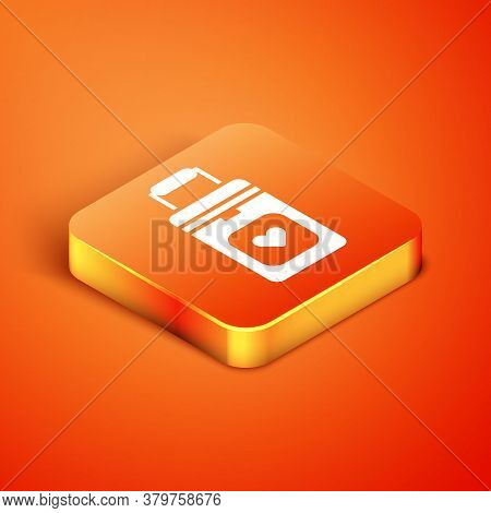 Isometric Cooler Box For Human Organs Transportation Icon Isolated On Orange Background. Organ Trans