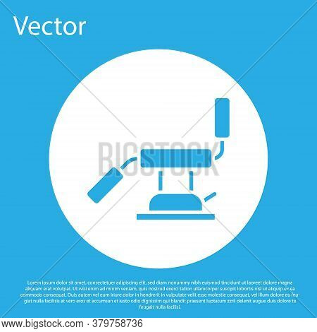 Blue Medical Dental Chair Icon Isolated On Blue Background. Dentist Chair. White Circle Button. Vect