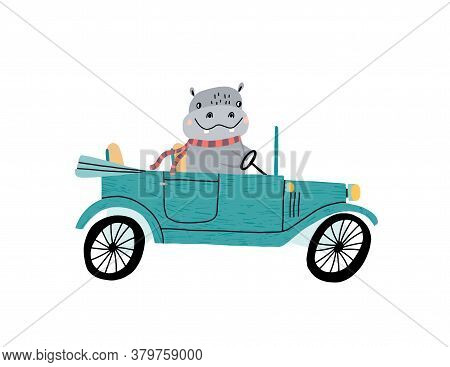 Cute Hippo Driving A Retro Car. Childrens Hand Draw Vector Illustration.