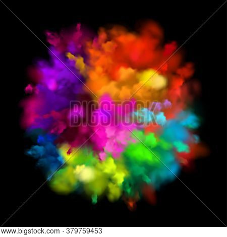 Colorful Powder Explosion Effect On Black Background