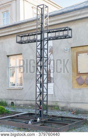 Jaroslaw, Poland - June 12, 2020: Cross Commemorating The Place Of Prayer Of Cardinal Karol Wojtyla