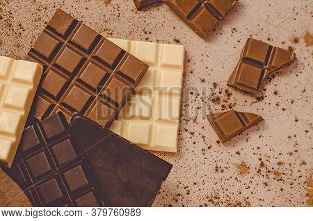 Dark , Milk And White Chocolate Bar. Chocolate Assortment Of Dark, White, Milk Chocolate.