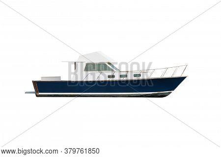 White And Blue Motor Boat Isolated On White Background