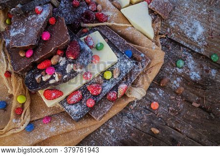Chocolate With Candies And Berries