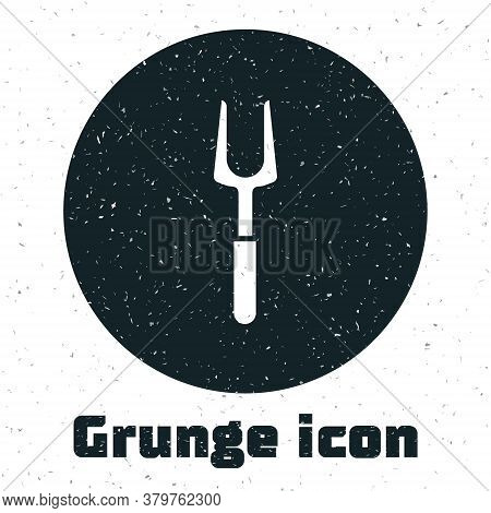 Grunge Barbecue Fork Icon Isolated On White Background. Bbq Fork Sign. Barbecue And Grill Tool. Mono