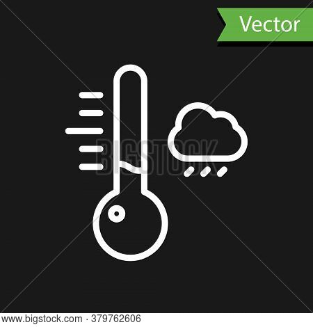 White Line Meteorology Thermometer Measuring Icon Isolated On Black Background. Thermometer Equipmen