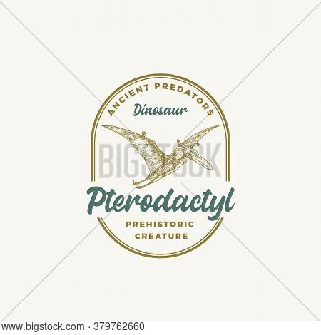 Prehistoric Creature Dinosaur Abstract Sign, Symbol Or Logo Template. Hand Drawn Pterodactyl With Re