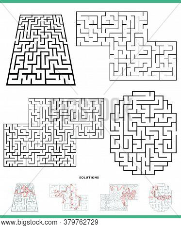 Illustration Of Black And White Mazes Game Activities Set With Solutions