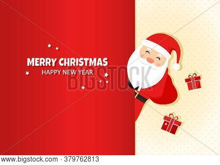 Merry Christmas, Happy New Year. Santa Claus Greeting Vector Card, Cute Cartoon Character, Santa Wit