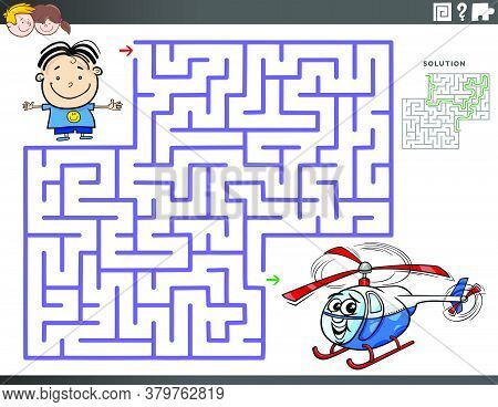 Cartoon Illustration Of Educational Maze Puzzle Game For Children With Boy Character And Toy Helicop