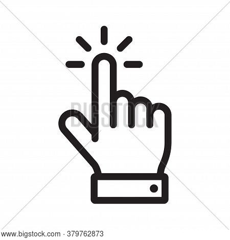 Hand Click Icon, Mouse Clicking Pointer. Hand Pointer Clicking. Vector Illustration.
