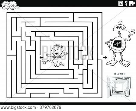 Black And White Cartoon Illustration Of Educational Maze Puzzle Game For Children With Boy Character
