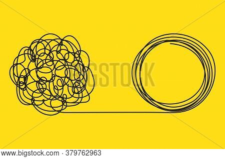 Unraveling Difficult Situation, Chaos And Mess. Metaphor Of Problem Solving. Unraveling Tangled Tang