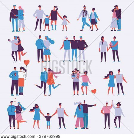 Illustration With Happy Cartoon Couples Of People. Happy Friends, Parents, Lovers On Date, Hugging,