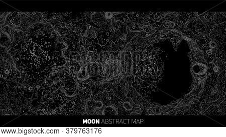 Vector Abstract Moon Relief Map. Generated Conceptual Lunar Elevation Map. Isolines Of Landscape Sur