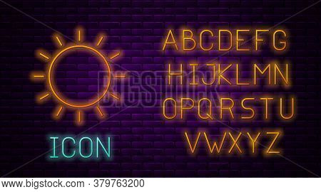 Glowing Neon Line Sun Icon Isolated On Brick Wall Background. Summer Symbol. Good Sunny Day. Neon Li