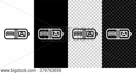 Set Line Wallet Icon Isolated On Black And White Background. Purse Icon. Cash Savings Symbol. Vector
