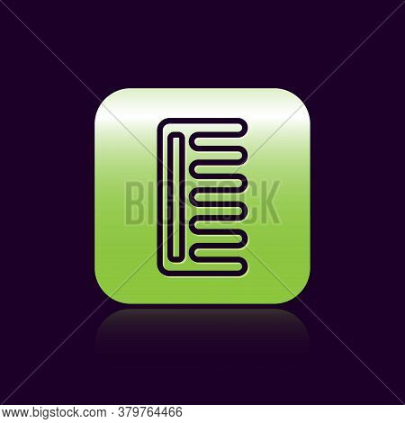 Black Line Hairbrush Icon Isolated On Black Background. Comb Hair Sign. Barber Symbol. Green Square