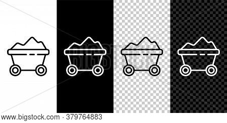 Set Line Coal Mine Trolley Icon Isolated On Black And White Background. Factory Coal Mine Trolley. V