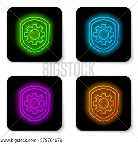 Glowing Neon Line Shield With Settings Gear Icon Isolated On White Background. Adjusting, Service, M