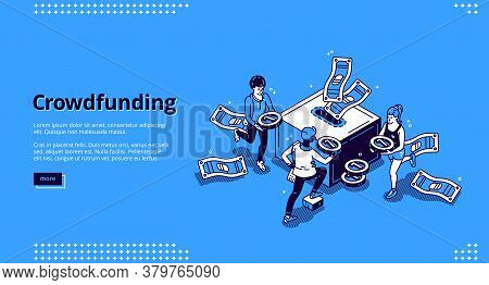 Crowdfunding Isometric Landing Page. People Donate Money For Creative Idea Support Put Coins In Huge