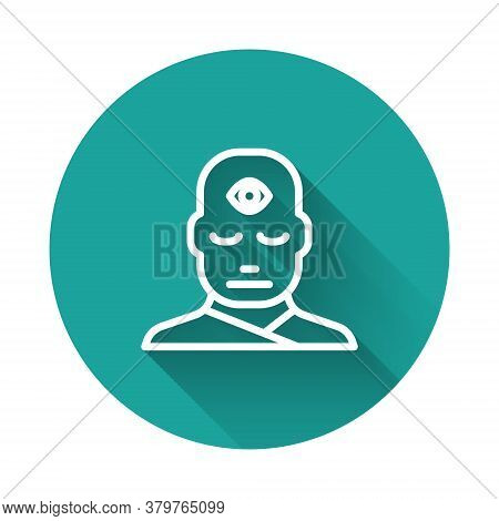 White Line Man With Third Eye Icon Isolated With Long Shadow. The Concept Of Meditation, Vision Of E