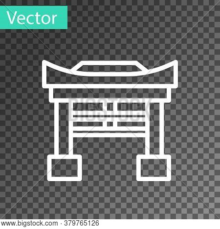 White Line Japan Gate Icon Isolated On Transparent Background. Torii Gate Sign. Japanese Traditional