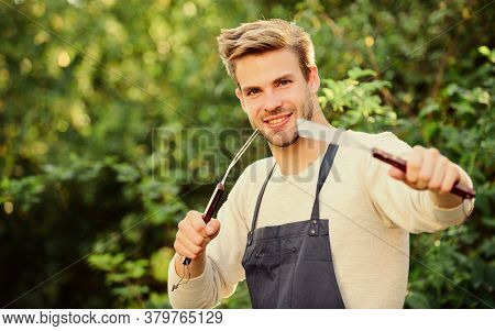 Tasty Food. Culinary Concept. Chef Cooking Bbq Food. Tools For Roasting Meat Outdoors. Picnic Cookin