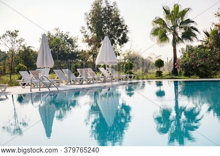 View Of The Pool, Sun Loungers And Parasols Among Lush Green Palms And Bushes In The Soft Morning Li