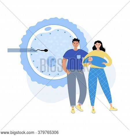 In Vitro Fertilization. Icsi Technology. Happy Parents With Baby. Artificial Insemination, Parenthoo