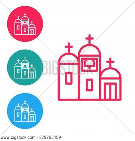 Red Line Church Building Icon Isolated On White Background. Christian Church. Religion Of Church. Se