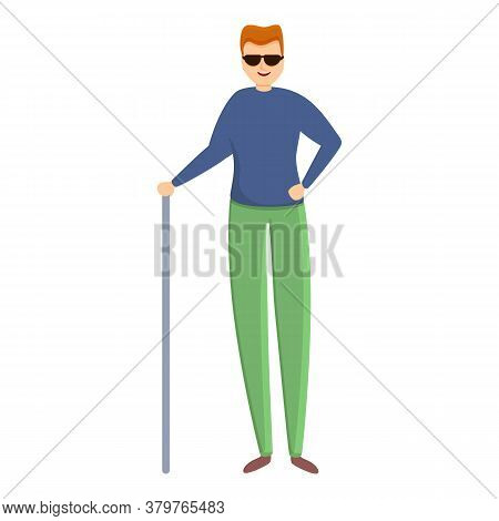 Young Blind Man Icon. Cartoon Of Young Blind Man Vector Icon For Web Design Isolated On White Backgr