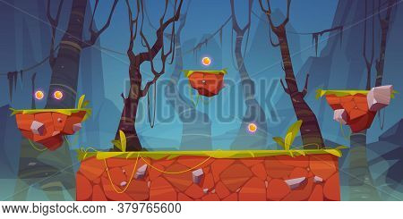 Game Platform Cartoon Forest Landscape, 2d Ui Design For Computer Or Mobile. Creepy Dark Wood With S