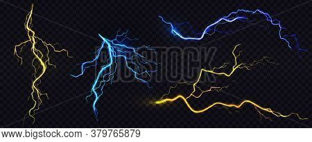 Lightnings, Thunderbolt Strikes During Storm At Night. Vector Realistic Set Of Blue And Yellow Elect