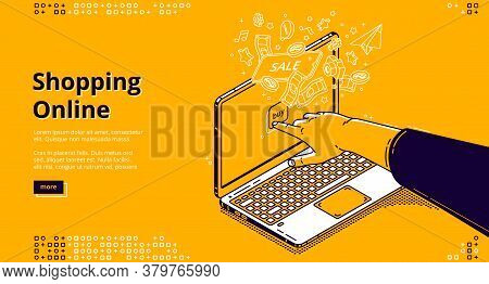 Online Shopping Isometric Landing Page, Customer Purchasing In Digital Store Choose Goods In Interne