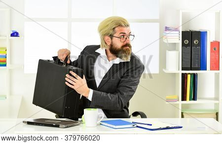 Business Corruption. Mature Man With Case At Workstation. Male Office Fashion. Businessman Hand Hold
