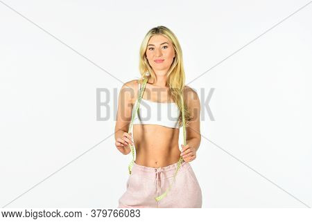 Fit Your Body And Lose Weight. Healthy Lifestyle Concept. Sexy Woman With Measuring Tape. Fit Girl H