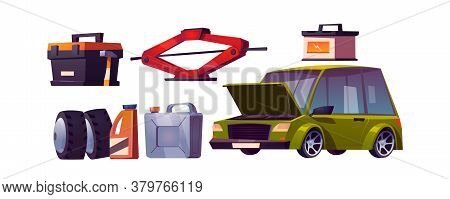 Car Repair Shop, Auto Maintenance. Vector Cartoon Set Of Automobile And Equipment For Check And Fix