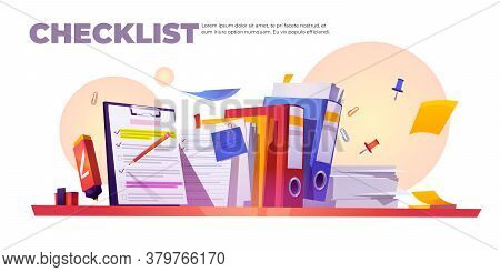 Checklist Banner. Concept Of Paperwork Organization And Completed Tasks. Vector Cartoon Illustration