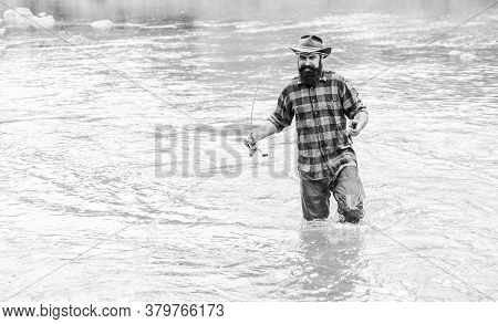Just Do That Only. Hobby And Sport Activity. Fisherman Show Fishing Technique Use Rod. Mature Man Fl