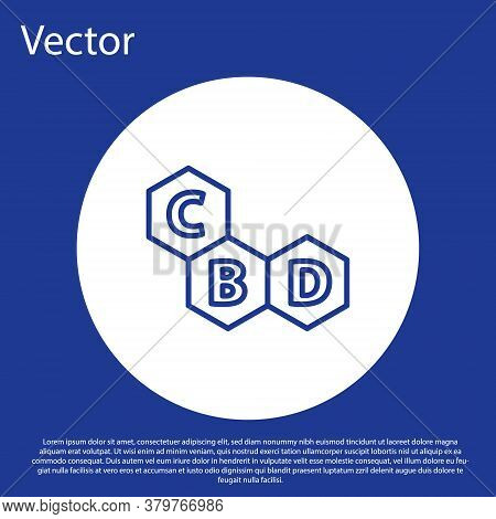 Blue Line Cannabis Molecule Icon Isolated On Blue Background. Cannabidiol Molecular Structures, Thc