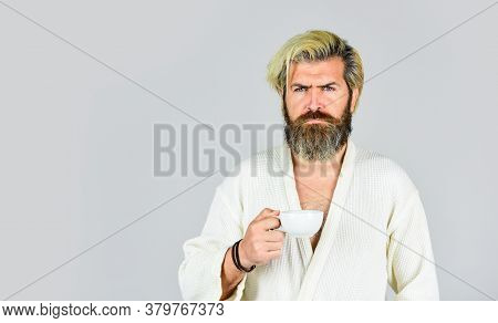 Understanding Your Daily Rhythms. Bearded Man With Mug. Breakfast Concept. Man With Beard In Bathrob
