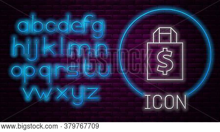 Glowing Neon Line Shoping Bag And Dollar Symbol Icon Isolated On Brick Wall Background. Handbag Sign