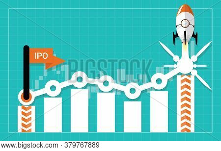 Ipo Or Initial Public Offering Corporate Stock Market, Company Growth Concept. Design By Start Flag,