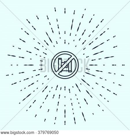 Black Line Say No To Plastic Bags Poster Icon Isolated On Grey Background. Disposable Cellophane And