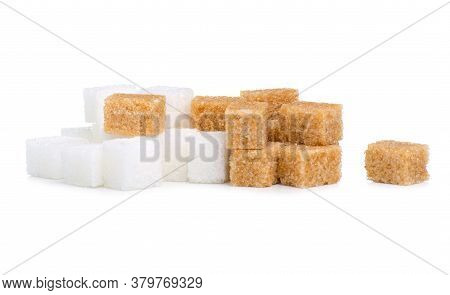 White And Cane Brown Sugar Cubes On White Background Isolation