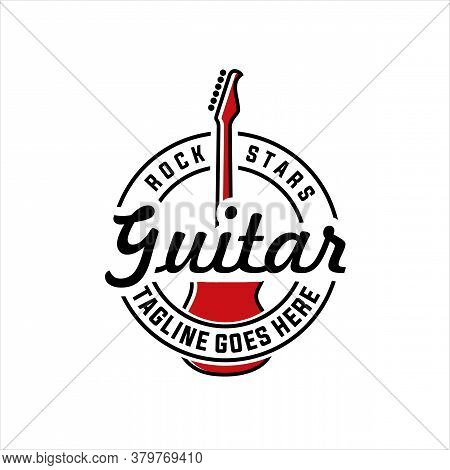 Vintage Guitar Graphics Logo, Labels And Emblems. Guitar T-shirt Design Banners, And Elements Vector