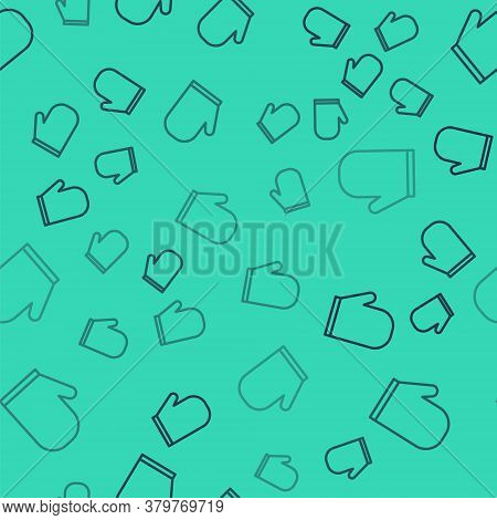 Black Line Oven Glove Icon Isolated Seamless Pattern On Green Background. Kitchen Potholder Sign. Co