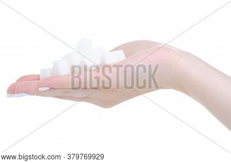 White Sugar Cubes In Hand On White Background Isolation